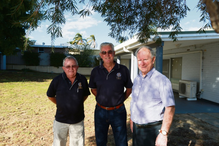 Rosss Daniel (Rotary of Karrimyup and Steering Committee), Tony Strickland (Streering Comittee) and Peter Polain (Rotary of Karrinyup and Steering Committee). The Rotary Club of Karrinyup and the Steering Committee of Karrinyup Community Mens Shed is starting a men's shed at this old pre-primary site in Balcatta. Picture: Andrew Ritchie d482454