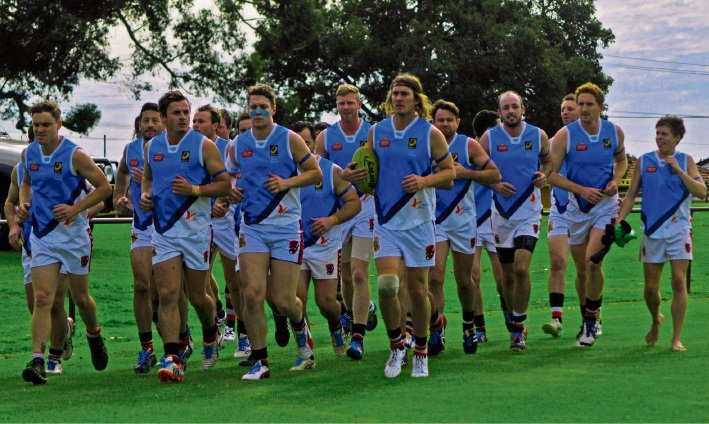 Osborne Park Amateur Football Club players take to the field for the beyondblue charity round.