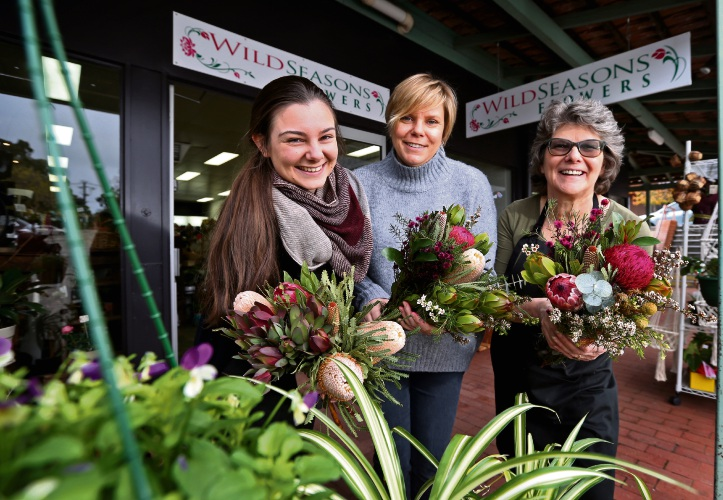Monique Stewart (Florist at Wild Seasons Flowers), Fay Valli (Hosting the Art in Flowers Workshop in the Faire and Co studio) and Maria Hart (Owner of Wild Seasons Flowers). Picture: David Baylis d483895