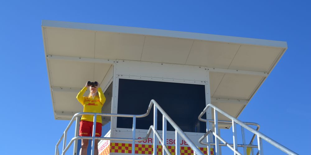 Volunteer surf live saver Madeline Hood in the observation tower at City Beach. Picture: Jessica Warriner.