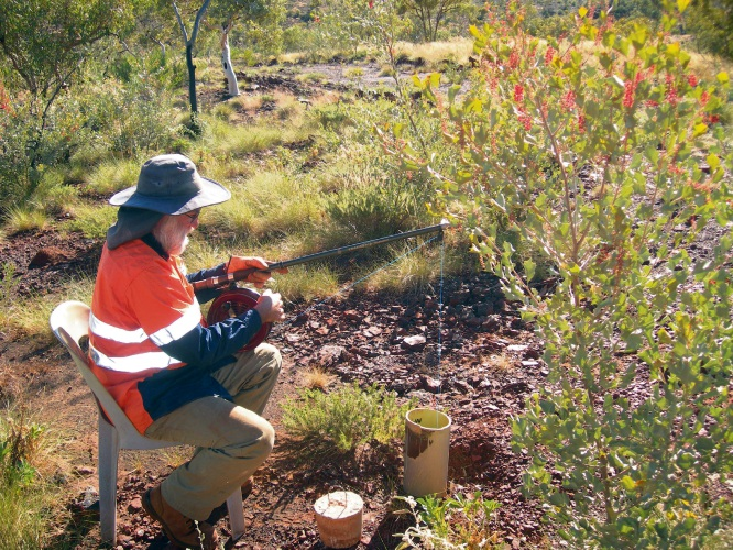 An ECU researcher hunting in aquifers in the Pilbara region. Photo: Giulia Perina