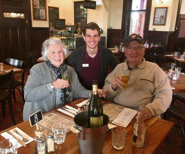 Morris and Trish Ellson celebrating their 64th wedding anniversary at the Kalamunda Hotel with venue manager Christian Pover.