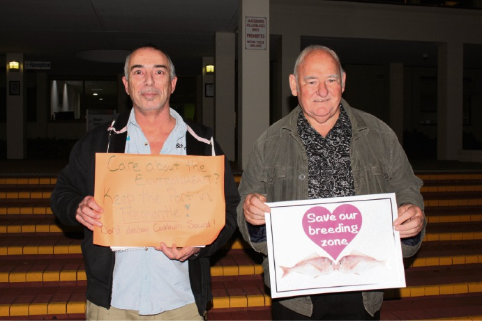 Anti-Harbour Alliance group members and protestors Eden Hill resident Tim Barlow and Port Kennedy resident Allan Nelson.