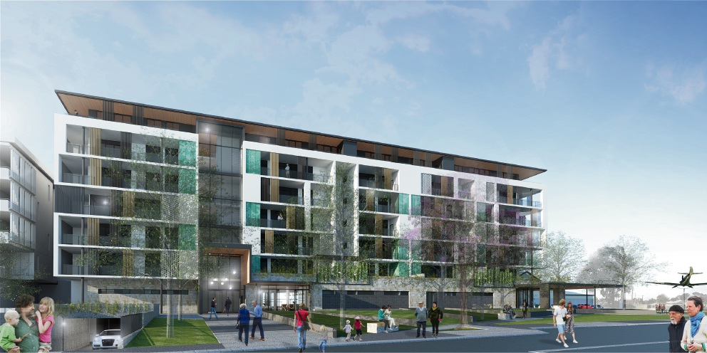 An artist's impression of the seven-storey building in Bull Creek.