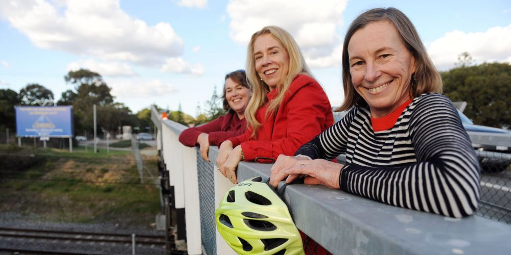 P2P advocates Sara Franklyn, Melissa Harkins and Kate Main want adjacent safe cycling streets to exploit the PSP which will go under the Eric Street bridge at its dangerous Curtin Avenue intersection in Cottesloe. Picture: Jon Bassett