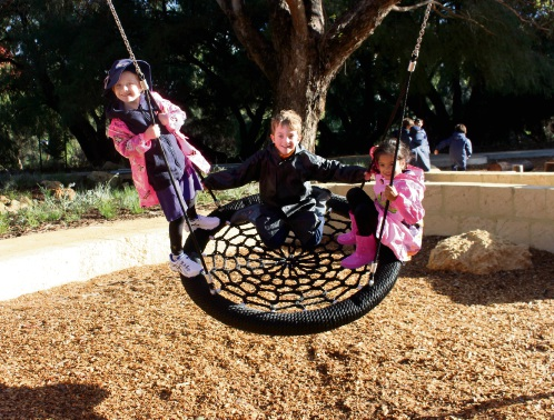 Perth Individual Montessori College students were the first to enjoy GO Edwards Park newly complete nature playground. Picture: Bronwyn Donovan
