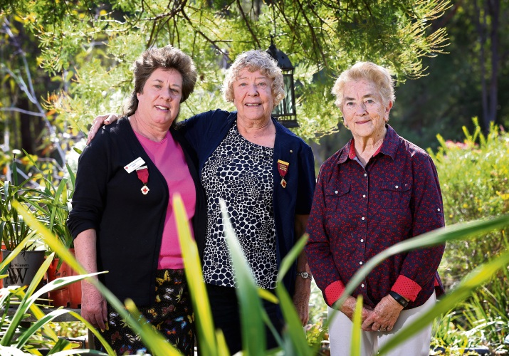 Diane Rudwick (Margaret's daughter) and Margaret Rudwick of Mundaring with Shirley Andrusiak of Darlington. Picture: David Baylis d483066