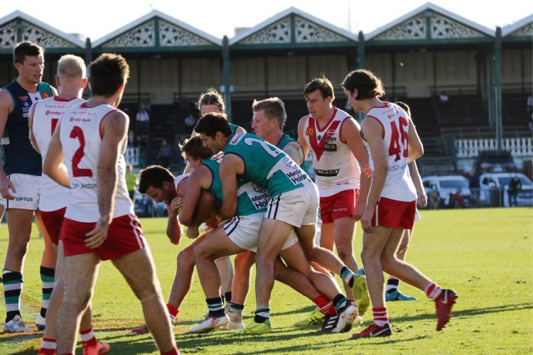 Peel Thunder players fought hard, but it was not enough to secure the game. Picture: Hannah Salt