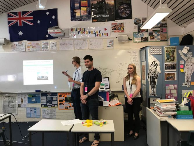 Murdoch undergraduates Joel Corbett, Sophia Redgment and Zachary Fergie spoke about legal matters with Year 10 students Eastern Hills Senior High School.