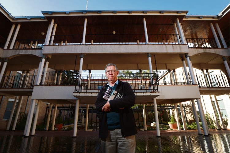 Winthrop Professor Bob White at New Fortune Theatre. UWA Publishing has just released a book called The New Fortune Theatre: That Vast Open Stage. The New Fortune Theatre at UWA was the first replica Shakespearean theatre built in the Southern Hemisphere. Picture: Andrew Ritchie www.communitypix.com.au d483578