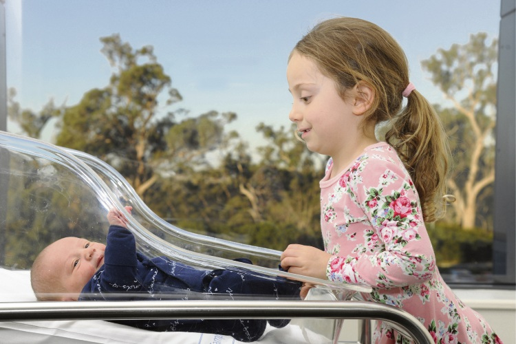 Baby Oscar Etrelezis and his sister Milana (4) at Joondalup Private Hospital where they were both born. Picture: Chris Kershaw