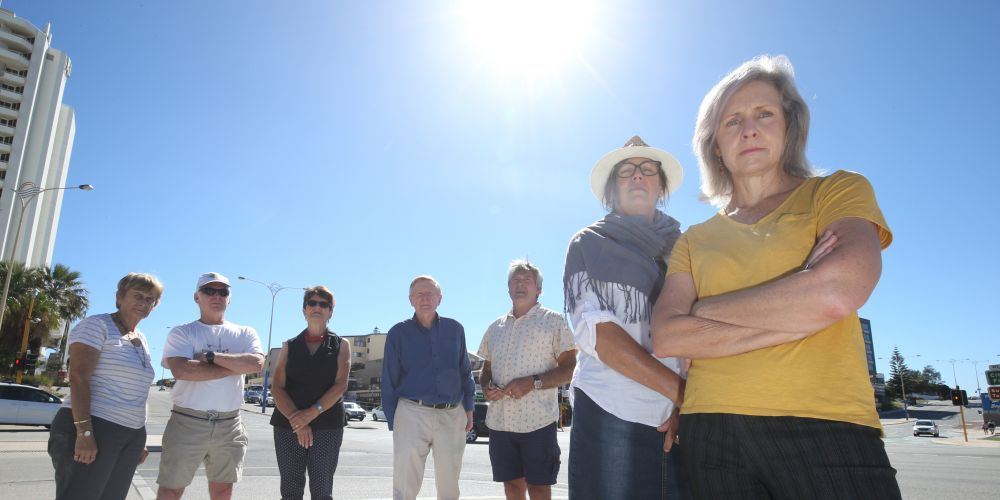 Sunsets Not Skyscrapers members Janet Pettigrew (Right) with Mike and Marilyn Needham, Fran Maloney, Della Cameron, Jason Thwaites and John Kirkman. Photo: Matt Jelonek