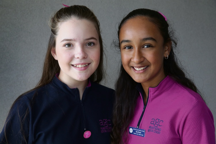 Chloe Brown (13-Iluka) and Ava Stuart (12-Carramar). Picture: Martin Kennealey d483464