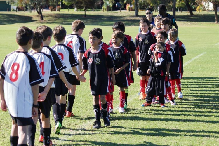 Children from the Banksia United soccer team.