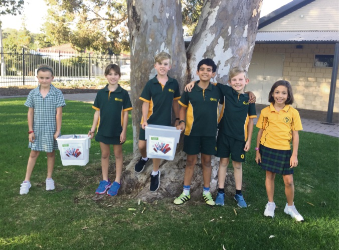 Lake Gwelup Primary School year 4 students Grace Gill, Ella Wray, Zane Dawson, Adam Ibrahim, Alex New and Matilda Valentino with some of the donated waste.