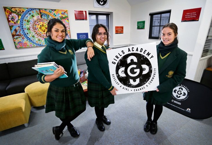 Paige Corunna (16) of Two Rocks, left, Gemima Rahman (16) of South Hedland and Hayley Lewis (14) of Lesmurdie. St Brigids College in Lesmurdie is now home to another Girls Academy, providing in-school programs for Aboriginal and Torres Strait Islander girls. Picture: David Baylis d483832