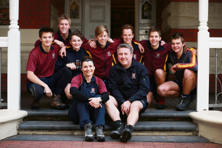 Year 7 Coordinator Karen Woods and Headmaster Alec O'Connell with Y11s from Scotch College who have been selected to take on the Kokoda Track in July. Photo: Andrew Ritchie