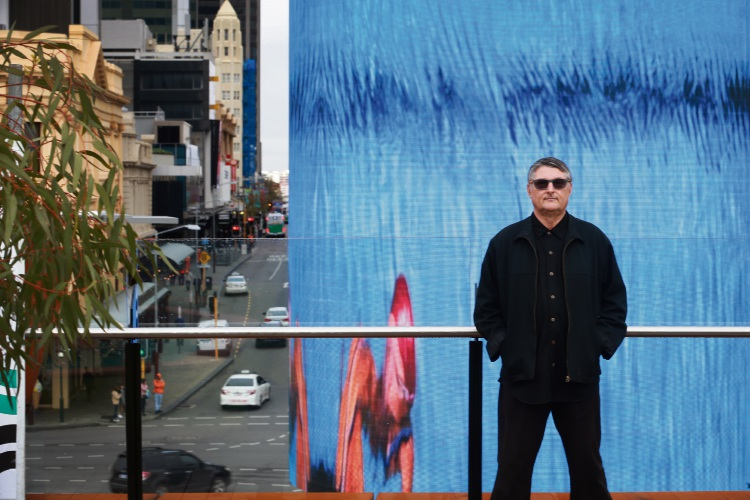 Hamilton Hill artist David Carson has his latest work up on the new Digital Tower in Yagan Square the heart of the City. Photo: Andrew Ritchie
