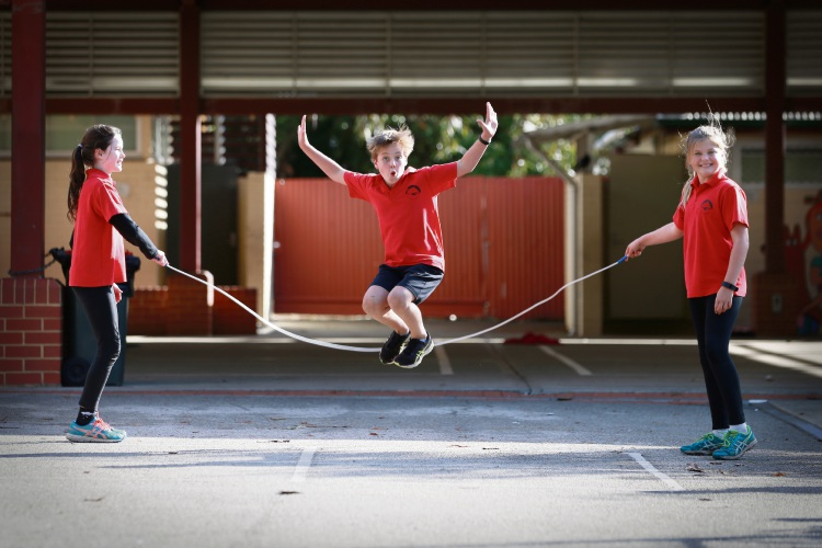 The kids at Mosman Park Primary School are about to have their Jump Rope for Heart ''Jump Off Day'', a day of skipping, healthy eating and heart health promotion. Photo: Andrew Ritchie