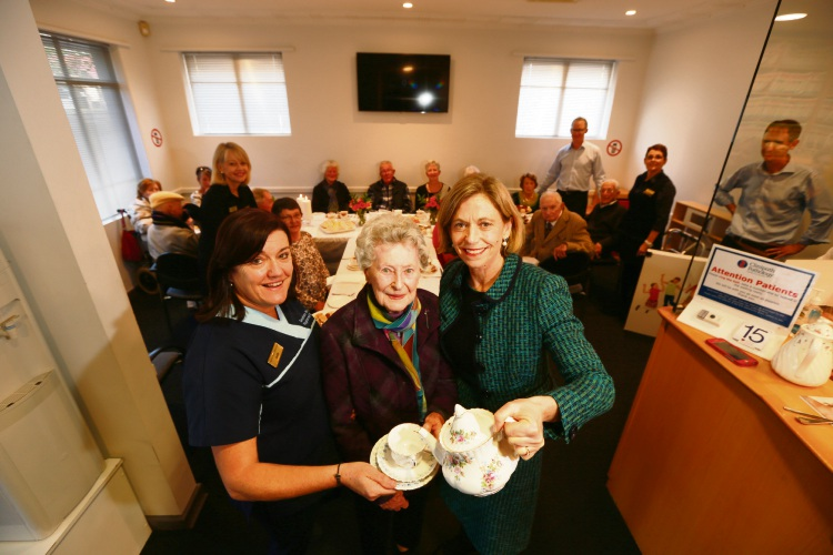 Practice nurse Jodi Scott, Joyce Forrester and Dr Maria Kailis get ready for the over-95s tea.  Picture: Andrew Ritchie.