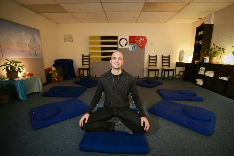 Nick Rubinich (Meditation Facilitator) at Mindfulness Meditation Hub, which is run by volunteers - they're trying to relocate to West Leederville. Picture: Andrew Ritchie