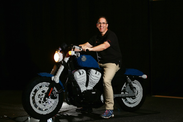 Ryan 'The Brickman' McNaught will unveil 39 Lego models never before seen in Perth – including the only life-sized Lego Harley Davidson ever made – when his new exhibition Brickman Awesome opens at Perth Convention and Exhibition Centre on Saturday. Picture: Andrew Ritchie
