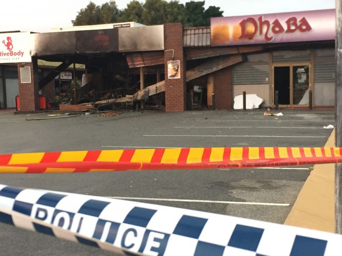 The gutted Safa Kebab store and Dhaba Indian Restaurant. Picture: Matt Zis.