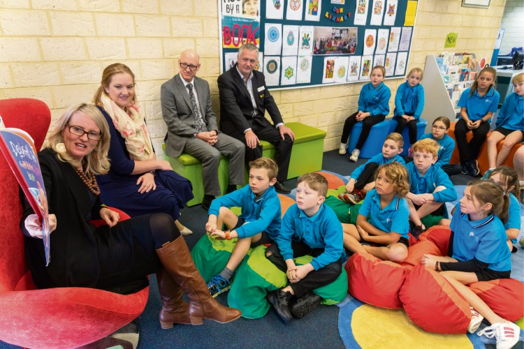 Mrs McGowan reading the book Dougal, the Garbage Dump Bear to years 3 and 4 students at Greenwood Primary School for the Never Stop Reading! session. Also in attendance was Kingsley MLA Jessica Stojkovski, principal Peter Mulcahy and school board member John Logan.