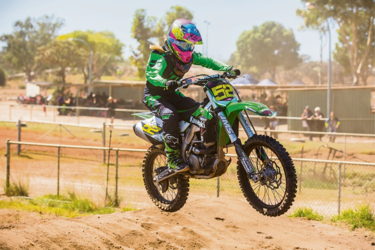 Hannah Stewart at the WAMX State Motocross Championship. Picture: Jack Foley