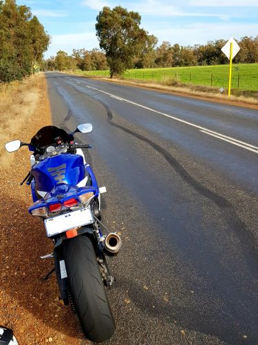 The motorcycle impounded by police in Pinjarra.