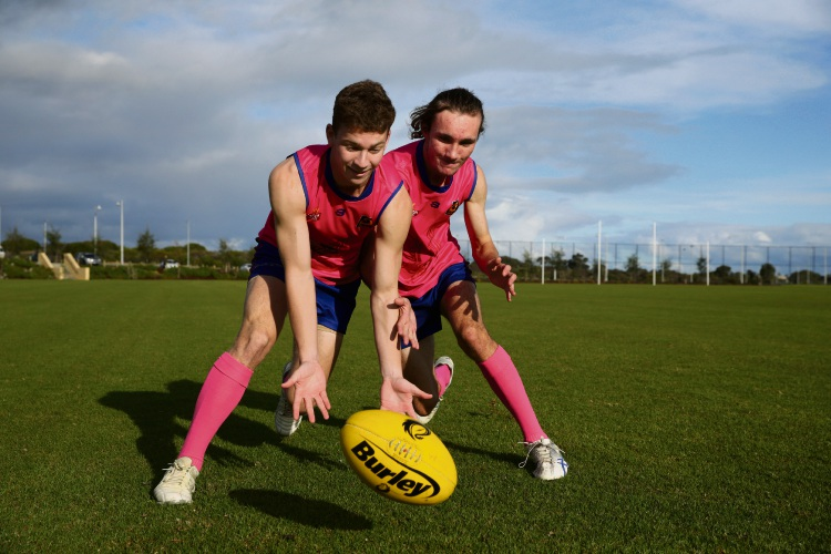 Harm Bastik and Trystan Ravese from Yanchep Red Hawks Football Club. Photo: Martin Kennealey d484129