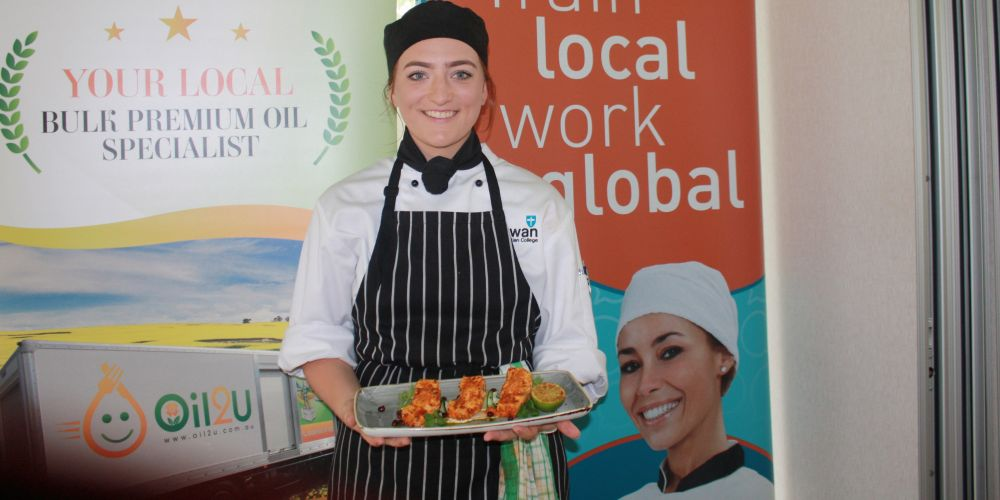 Maddison Buckley with her winning dish Harissa Bronze Whaler Shark served with Lemon Mayonnaise and Herb Oil.