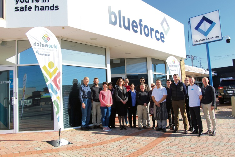 Blueforce director Dale Lofts (far right) with staff from Tuart Hill businesses and Stirling MHR Michael Keenan.