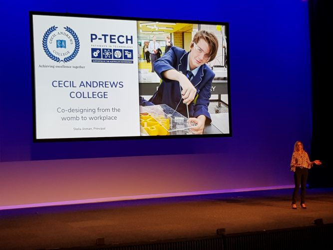 Cecil Andrews College principal Stella Jinman addressed the 2018 EduTECH Conference in Sydney.