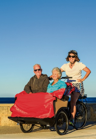 Sorrento Trishaw Pilot Alanagh Godderidge with elderly couple Clodagh and Alan Tolley.