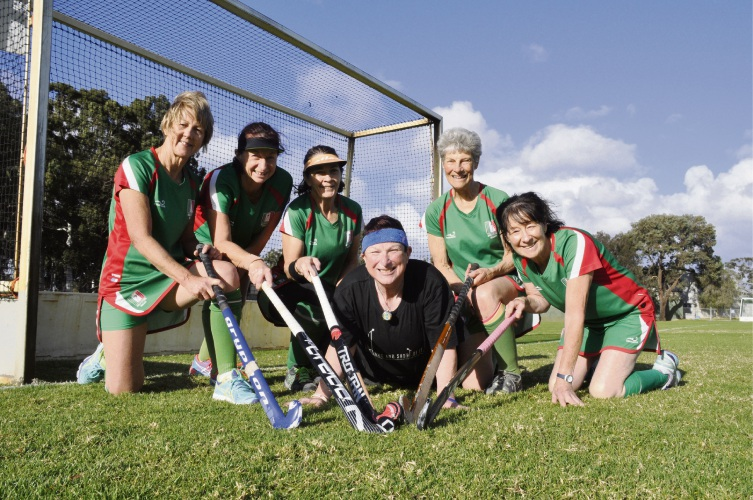 Left to right, Roleystone Women's Hockey Club players Delys Palmer, Sue Schryver, Alma Davies, Pattie Davis, Helen Johansen and Dale Kieley have been selected to represent WA in the Masters Competition.