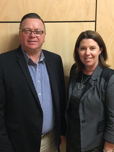 RDA Peel chairman John Erren and employment facilitator Maryanne Baker.