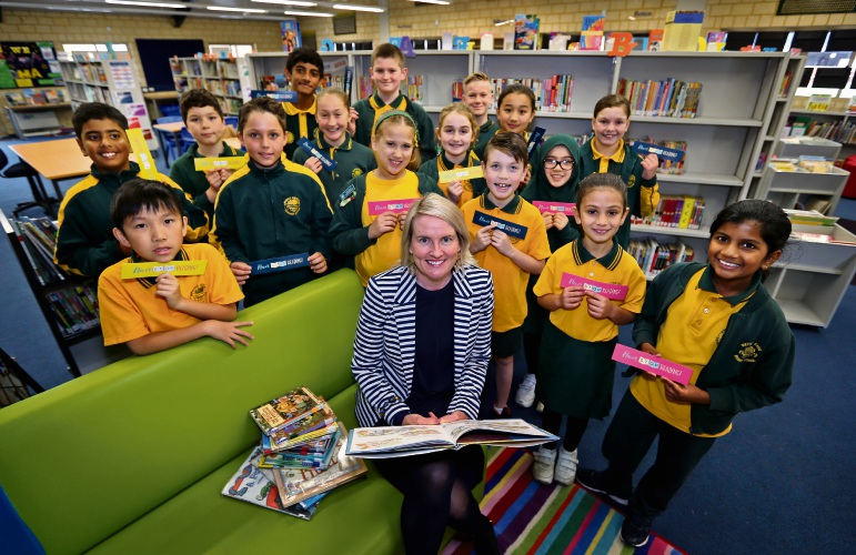Never Stop Reading Ambassador Sarah McGowan read to Year 3, 4, 5 and 6 students at Wattle Grove Primary School. Photo: David Baylis
