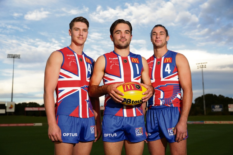 West Perth footballers Nathan Alexandre, captain Aaron Black and vice captain Luke Meadows. Photo: Martin Kennealey