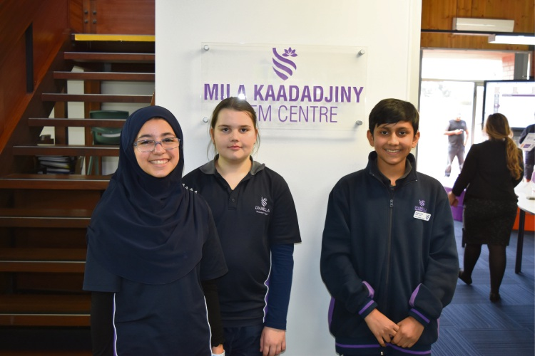Dianella Secondary College students Maryana Al Hilaly, Rhiannon Brown and Hamzairfan Khan. Picture: Kristie Lim.