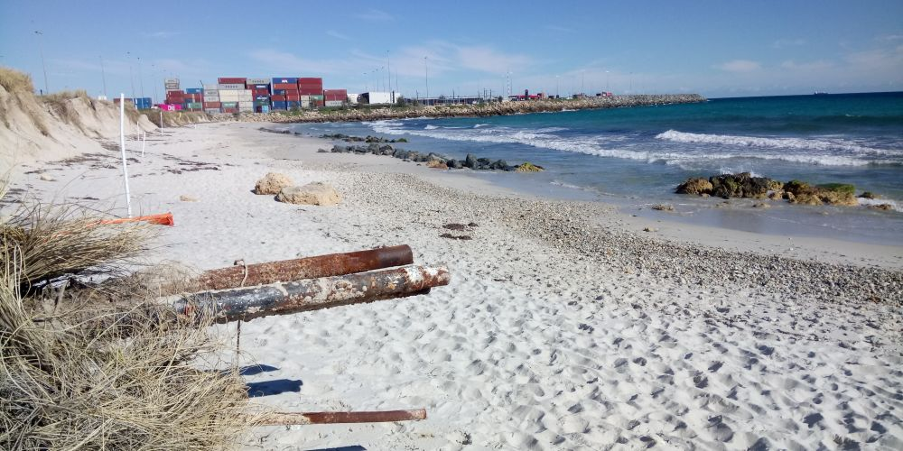 Swimmers may have to continue negotiating shingle and rubble exposed at Sandtracks Beach, North Fremantle that spread north to Port and Leighton beaches last summer. Photo: Jon Bassett