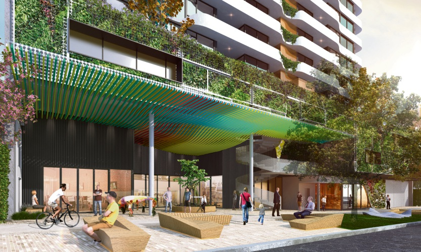 An artist's impression of the ground level of the development.
