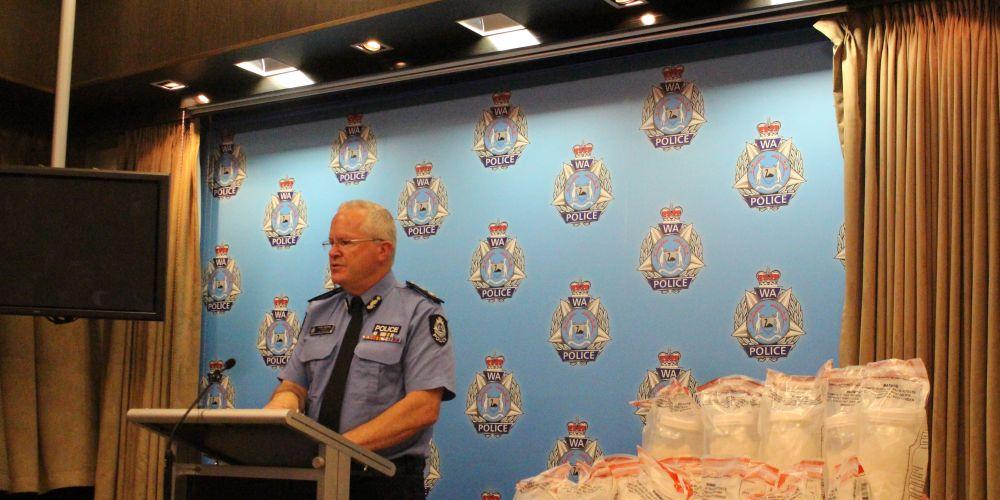 WA Police Commissioner Chris Dawson with the huge meth haul. Photo: Blair Jackson