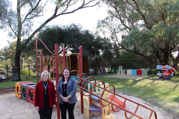 Edgewater Primary School Principal Julie Tombs and Joondalup MLA Emily Hamilton at the playground soon to receive a shade structure.