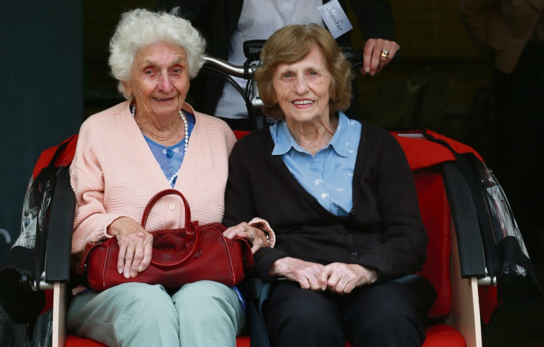 Wearne residents Enid Dunne (93) and Ina Duff (88) will get a ride on the rickshaw organised by pedal pilot Jennifer Patterson. Picture: Andrew Ritchie.