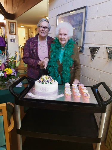 Ena Billings celebrating her birthday with her daughter-in-law Mary.
