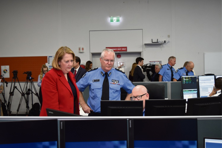 Police Minister Michelle Roberts and Police Commissioner Chris Dawson. Picture: Kristie Lim.