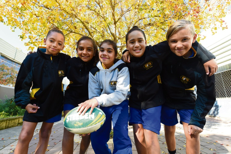 Brookman Primary School's touch football representatives Chulu Johnson, Maciesha Hill, Alisia Bynder, Tametai Berryman-Wihongi & Christopher Lawrence. Picture: Jon Hewson