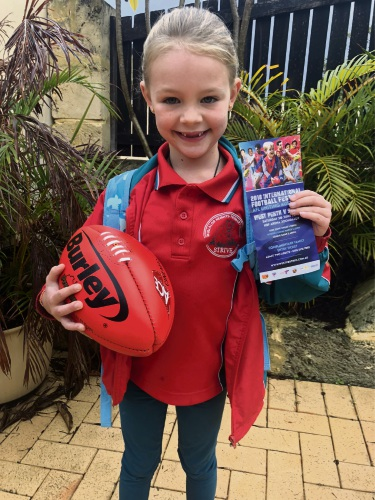 Amelie Ridley and her Mullaloo Heights Primary School classmates are off to the football for West Perth's International Round.