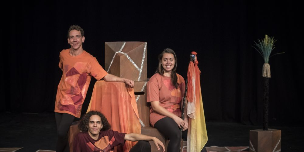 Sean Dow, left, Levi Widnall and Jessie Ward will perform in the Yirra Yaakin Theatre Company's performance of Kaarla Kaatjin for Naidoc Week.